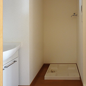 浴室内に洗濯機が置けます